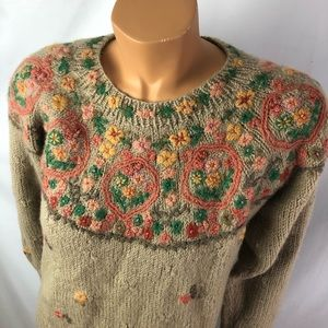 Lee Sophy floral embroidery sweater crew neck Sz M